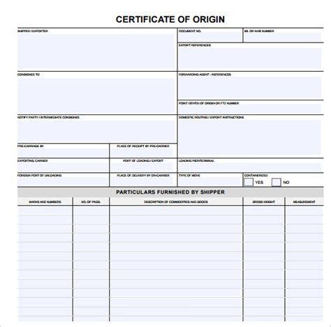 certificate of origin template 14 sles exles