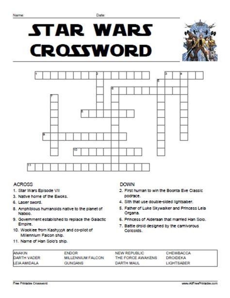 Printable Crossword Puzzle Star Wars | star wars crossword free printable allfreeprintable com