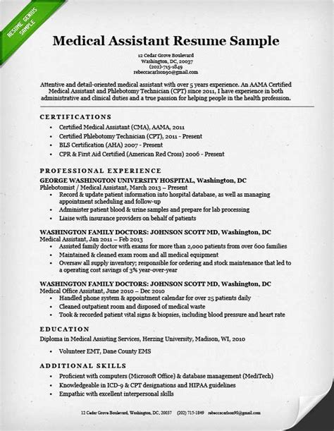 medical assistant resume sle writing guide resume
