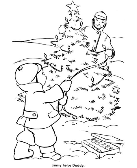 christmas tree coloring pages lighting the outdoor