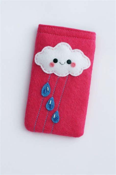 Handphone Casecover Handmade custom cloud felt phone phone pouch pink galaxy s2 kawa