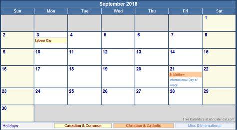 2018 Printable Calendar Canada September 2018 Calendar Canada 2018 Calendar With Holidays