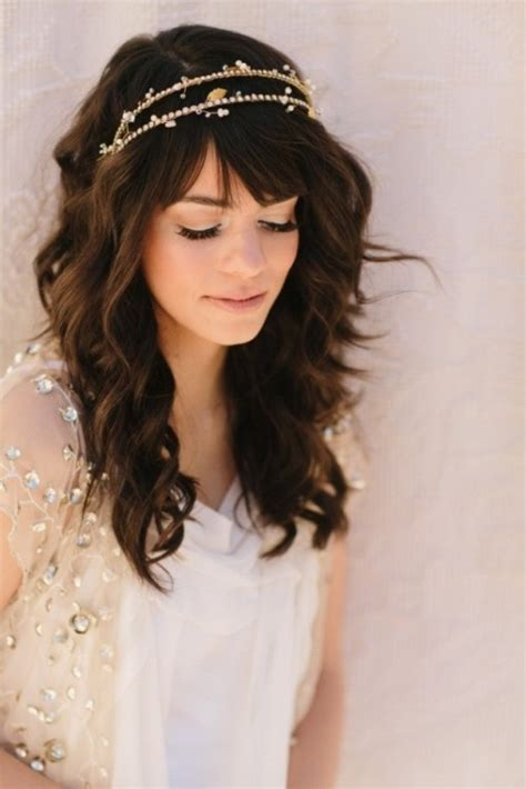 chic  pretty wedding hairstyles  bangs