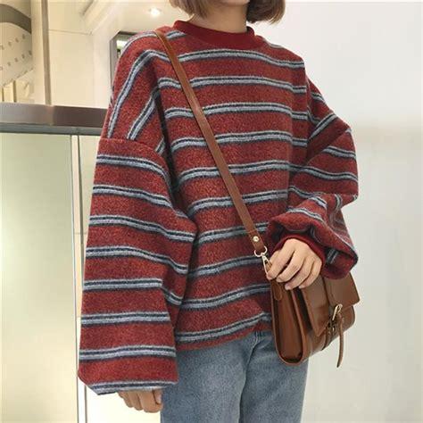 Jaket Zipper Hoodie Sweater Kurt Cobain Flipper itgirl shop vintage retro wool knit stripes oversized o