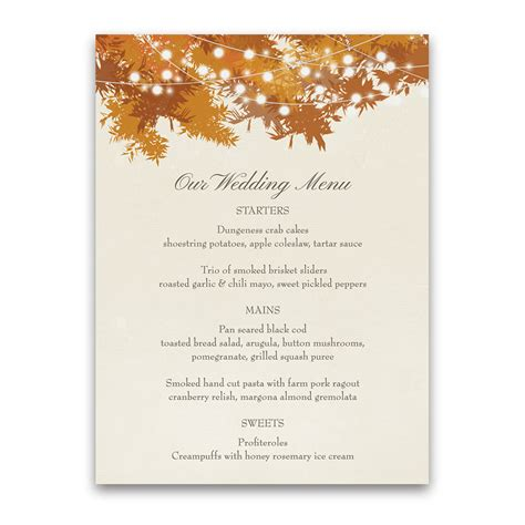fall menu template rustic fall tree leaves orange gold wedding menu