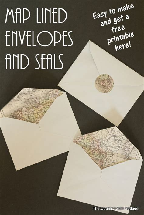 printable envelope seals making map lined envelopes the easy way crafts wedding