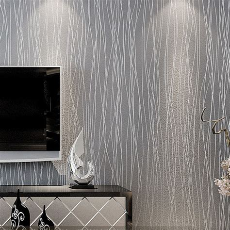 silver grey wallpaper living room striped wallpaper glitter solid wall paper non woven