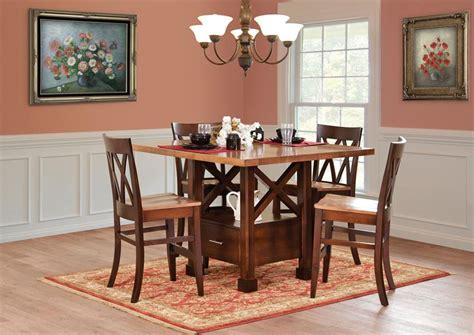 Hickory Dining Room Table by Amish Pub Tables