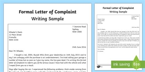 formal letter complaint template writing sample