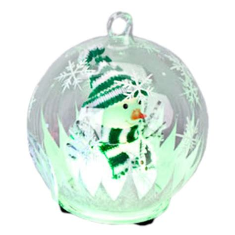 led ornaments gerson 080303 color changing led glass globe snowman