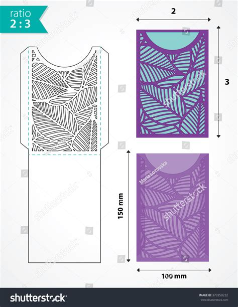 vector die cut envelope template may stock vector