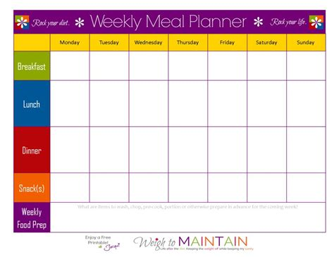 printable meal prep plan blank weekly meal plan sheet 21 day fix pinterest