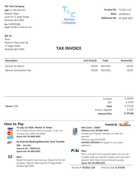 invoice template with credit card payment option iinvoice the smart way of invoicing and payment