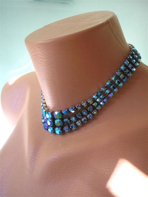 Blue Choker peacock blue choker borealis blue and green bridal necklace of the prom
