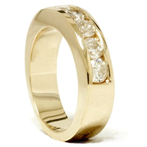yellow gold mens 1 1 4ct diamond wedding ring channel set
