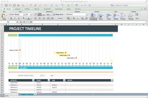 Project Timeline Template Excel by 9 Project Timeline Excel Templates Excel Templates
