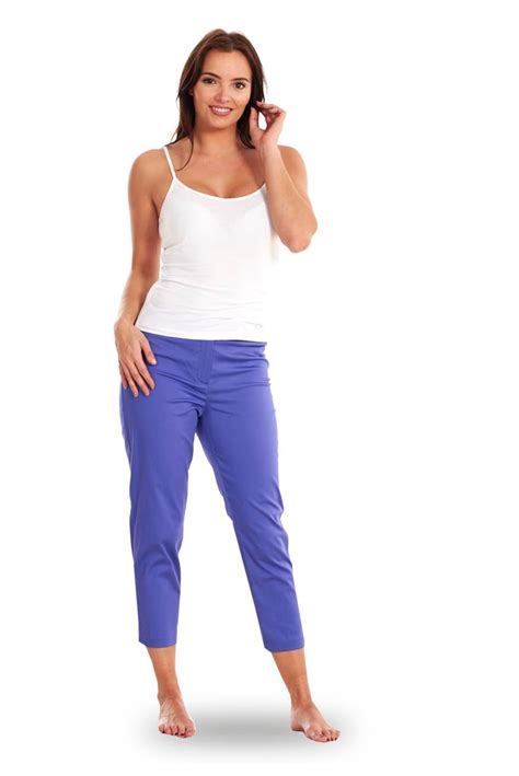 Cotton Cropped Trousers cropped trousers navy cotton womens 3 4