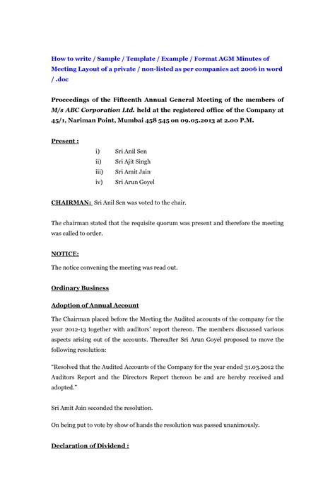 how to write meeting minutes template best photos of for writing meeting minutes format