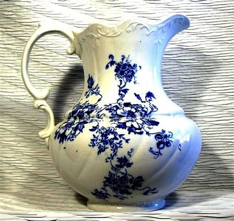 Antique Style Blue Ornate Pitcher Jug Ornate Edwardian White Porcelain 20 5cm 8 Quot Ebay F Winkle Blue And White Antique Jug Or Pitcher Nancy Pattern For The Past Antiques And