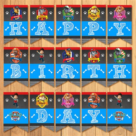 printable banner paw patrol paw patrol birthday banner chalkboard by partyprintables37