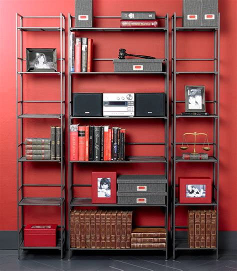 6 Shelf Iron Folding Bookcase The Container Store Iron Bookshelves