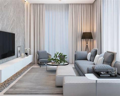 vorhã nge zu grauer modernes wohnzimmer einrichten in den farben grau beige