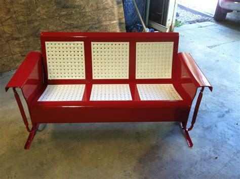 retro glider bench powdercoated restored vintage metal patio gliders