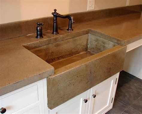 concrete countertops with farmhouse sink an apron front sink without the corner cracks