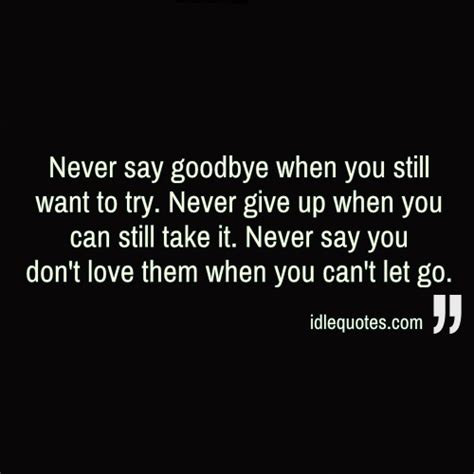 never say goodbye when you still want to try never give