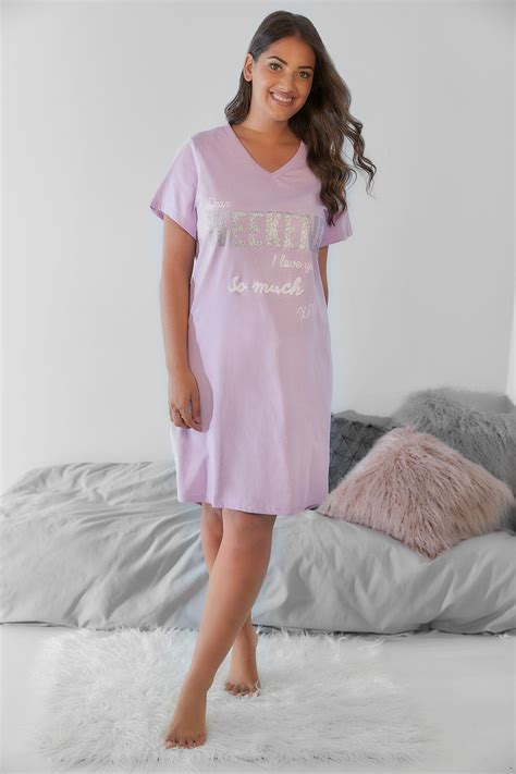 Can You Shop Online With A Visa Gift Card - lilac glittery weekend i love you nightdress plus size 14 to 36