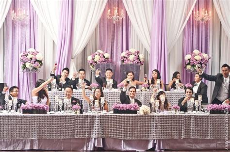 Tiered head table for large wedding party   (Head Table