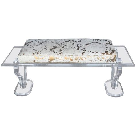 lucite bench for sale lucite bench with gold splatter cowhide upholstery for