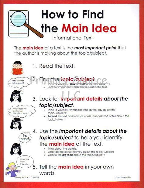 printable main idea poster stories about bel 311