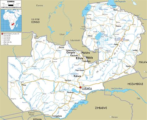 map of lusaka detailed clear large road map of zambia ezilon maps