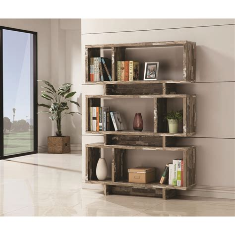 coaster bookcases open bookcase with distressed wood