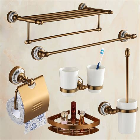 Antique Brass Brushed Bath Hardware Set Aluminim Bathroom Wall Mounted Bathroom Accessories Sets