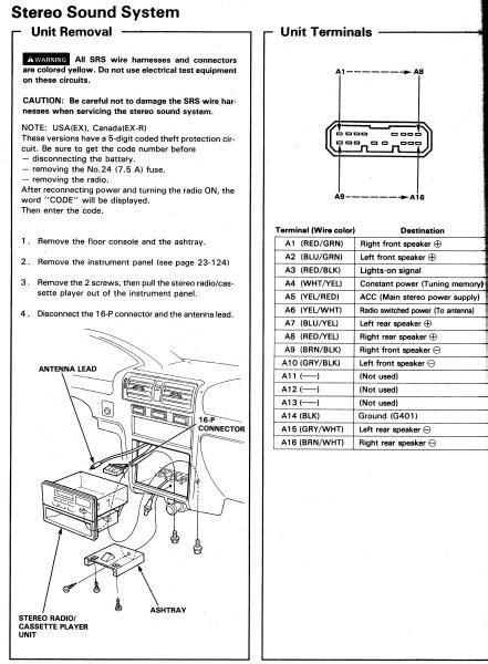 94 Accord EX radio wiring - Honda-Tech - Honda Forum