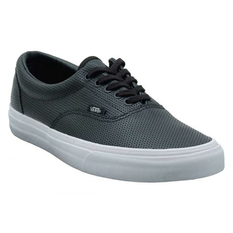 vans era perf leather black mens shoes from attic