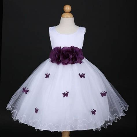 Dress Baby 6 12 Bulan Butterfly white with plum butterfly petal baby infant easter