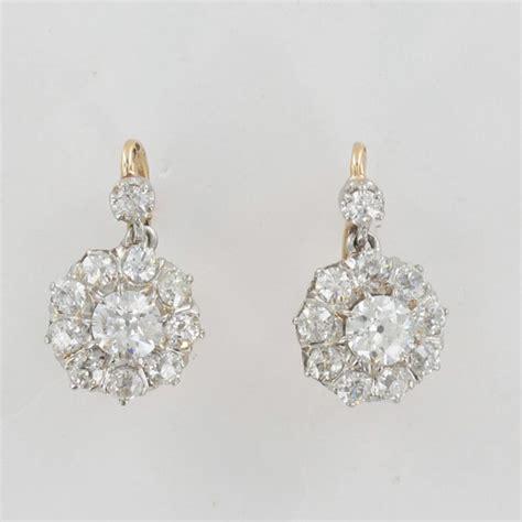 boucles d oreilles dormeuses anciennes 2 ors diamant