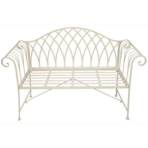 cream garden bench scrolled metal garden bench cream the garden factory