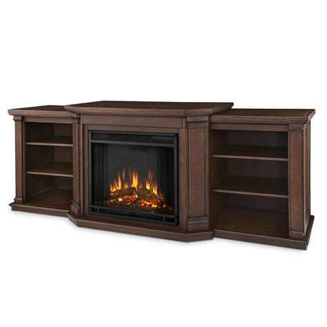 "75.5"" Valmont Chestnut Oak Entertainment Center Electric"