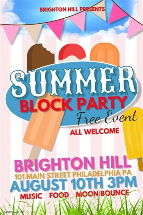 Summer Block Party Template Postermywall Block Flyer Template Summer