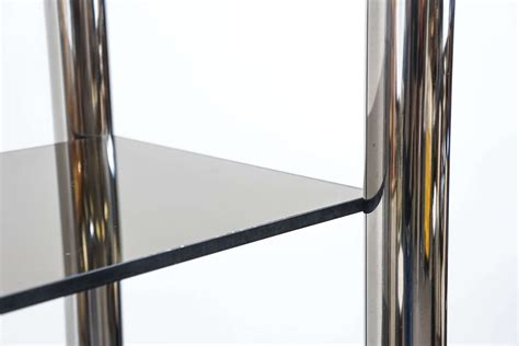 Smoked Glass Shelf by Pair Of Pace Collection Polished Aluminum And Smoked Glass Shelves For Sale At 1stdibs