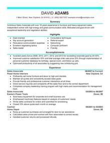 sle of a resume for a sales associate resume sle my resume
