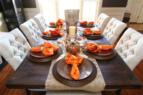 centerpiece kitchen table close: the candles and vases will stay while the pumpkins and fall foliage