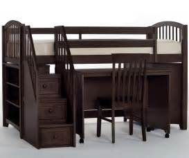 Bunk Bed With Stairs And Desk School House Espresso Chocolate Finish Junior Store And Study Low Loft Bed With Stairs Ne
