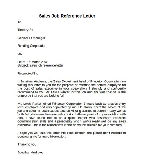 Sle Of Reference Letter From Your Employer Reference Letter 7 Free Sles Exles Formats