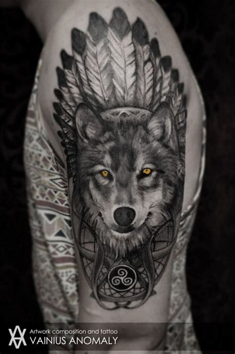 native american wolf tattoo cool american style wolf with yellow tatoo on