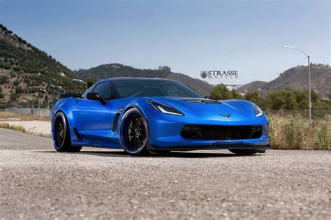Corvette C7 R Bue laguna blue corvette c7 z06 with strasse wheels gtspirit